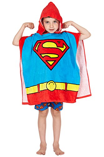DC Comics 'Superman' Logo Superhero Hooded Bath Beach Swim Poncho Towel, Red, 4-7]()