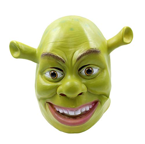 DEBRIS TIME Halloween Scary mask Masquerade Party Whole Latex Props Halloween Latex Mask Shrek mask ()