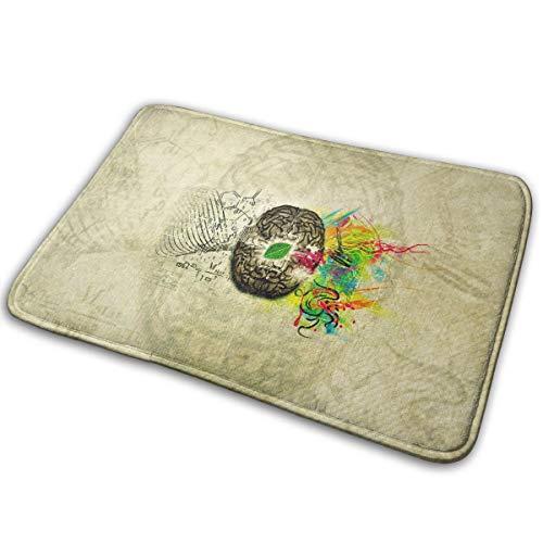 DENETRI DYERHOWARD Bath Mat Painting Brain Non Slip Bath Rug Washable Bathroom Soft Kitchen Floor Door Mat