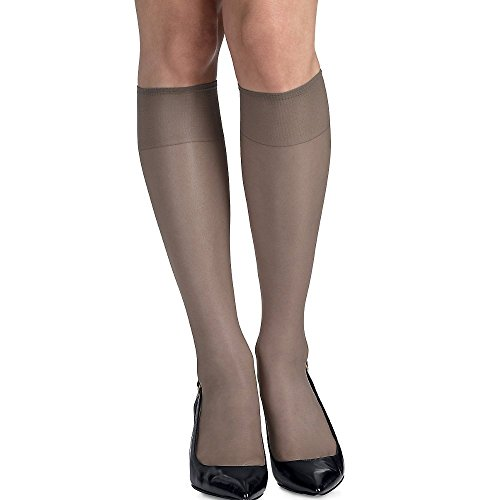 Hanes womens Silk Reflections Silky Sheer Knee Highs with Reinforced Toe 2-Pack(00775)-Barely Black-1 Size-2PK