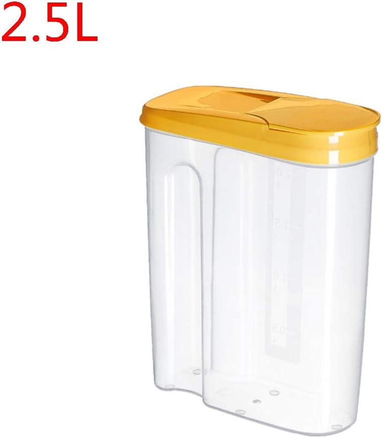 JOYKK 1.8L Cereales Contenedor de Almacenamiento Pl/ástico herm/ético Cocina Sellado para Alimentos Olla Cereal Grano Frijol Arroz Bocaditos Caja Frasco S # Amarillo