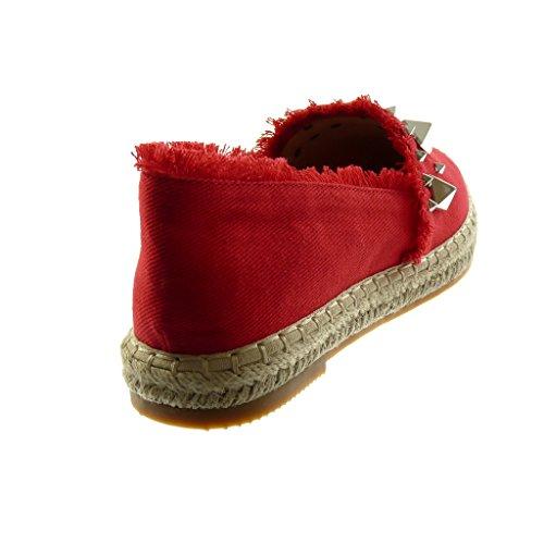 Borchiati 2 cm Rosso Blocco sfilacciato a 5 Moda Scarpe Angkorly Sandali Slip Corda Espadrillas on Donna Tacco gBxwq0U