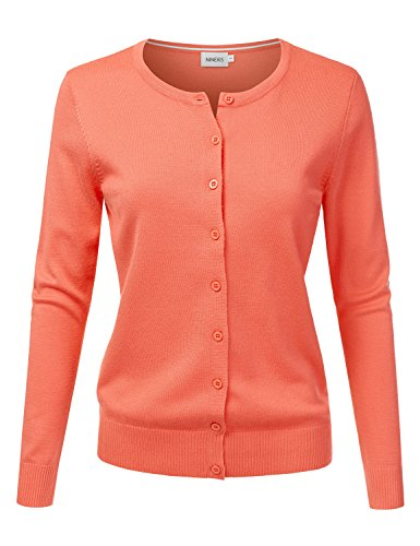 NINEXIS Women's Long Sleeve Button Down Soft Knit Cardigan Sweater Orange L ()