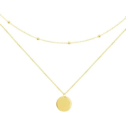9e4c2634a08dd Layered Disc Pendant Choker Necklace for Women Girls 925 Sterling Silver  18K Gold Dainty Full Moon Circle Coin Collar Two-Double Chain Fashion Y ...