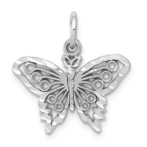 14k White Gold Butterfly Charm, 14 kt White Gold