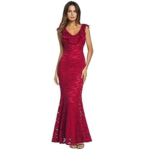 Tamaño Rojo Fuweiencore Europeo Y Medium Americano Sexy Vestido Primavera color Mujer Rojo Encaje Diseño qTqP67wC