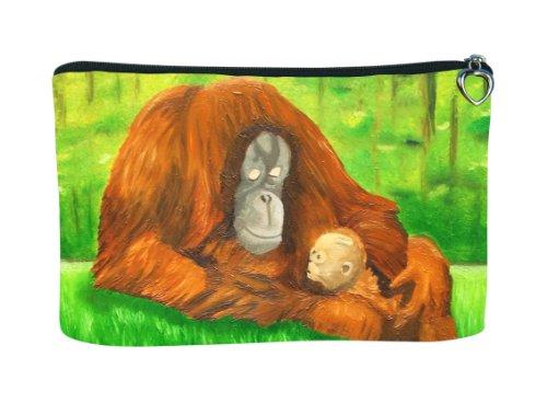 Orangutan Cosmetic Bag, Zip-top Closer - Taken From My Original Paintings (Orangutan - Ingenious Kin)