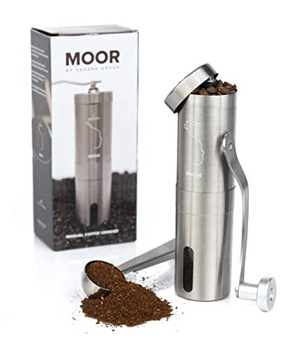 MOOR Manual Coffee Grinder with Adjustable Setting, Conical Burr Mill & Brushed Stainless steel Whole Bean Burr Coffee…