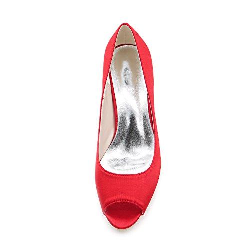 Da Tacchi Donna Da Y1195 Sera Toe Scarpe Peep Kitten 01 Dress Ager Pompe Red Satin Flower Prom Sposa zwqtSOWZx