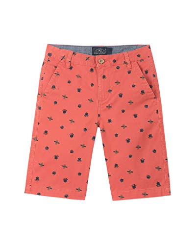 (Lucky Brand Big Boys' Flat Front Printed Twill Shorts, Bear Surfer Mineral red 18)