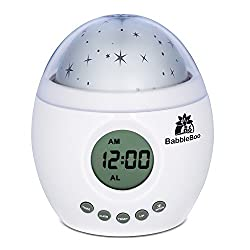 Babbleboo Baby Night Light Lamp & Children Bedroom Alarm Clock Star Projector With MP3 Player, Nursery Nature Sounds & Soothing Womb Simulation Feature For Children & Infants - 7 Sounds