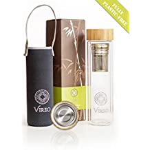 Insulated glass double wall water bottle with bamboo Cap lid, 16.9 (500 ml) oz fruit infuser with filter and Tea Coffee Brewer basket. Neoprene Sleeve included