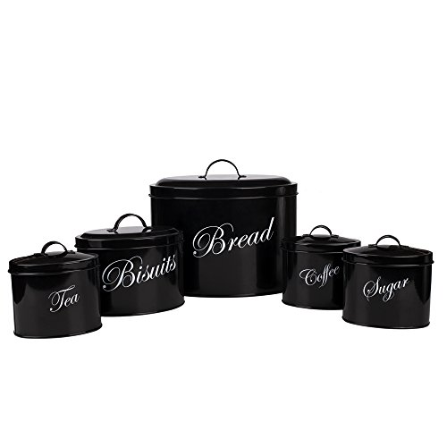 Hot Sale Black X713 Metal Elliptical Home Kitchen Gifts Bread Bin/Box/Container Biscuit Tea Coffee Sugar Tin Canister Set (Black)