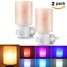 Abedoe 2 Packs Himalayan Crystal Salt Lamp, Natural Carved Salt Rock Wall Night Light UL Approved Plug in with 2 LED Color Changing Bulb and 2 Incandescent Bulb, Christmas Decorations & Gifts