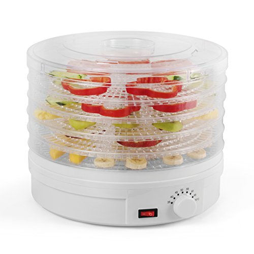 Westinghouse WFD101W New Food Dehydrator, 245 Watts, White Base, 5 Stackable Trays