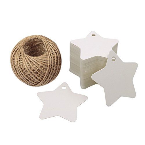 Christmas Star Gift Tags 100PCS Paper Gift Tags with String White Kraft Gift Tag with 100 Feet Natural Jute Twine ()
