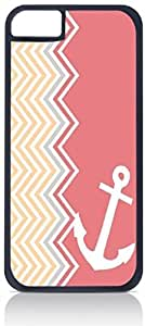 Coral Side Chevrons and an Anchor- Case for the Apple Iphone 6 Plus Only-Hard Black Plastic Outer Shell