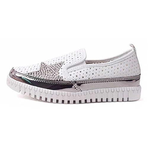 EpicStep Women's White Perforated Studs Slip On Fashion Sneakers Loafers Shoes 7 M US