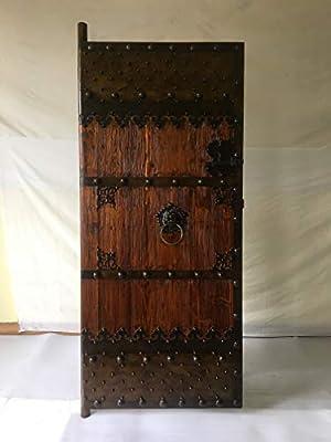 Puerta medieval de antigüedad de las puertas de madera maciza clavado de puerta corredera Breite80 cm x Höhe200cm: Amazon.es: Bricolaje y herramientas