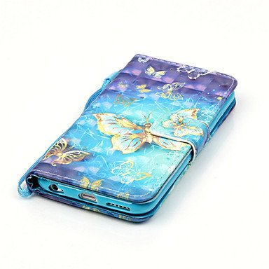 Fundas y estuches para teléfonos móviles, iPhone 7, además de cuero de la PU Material de la caja 3d pintura de oro del patrón de mariposa del teléfono para el iphone 6s 6 Plus SE 5s 5 ( Modelos Compat IPhone 7 Plus