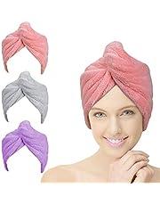ACWOO Hair Turban, 3 sztuki damski guzikowy ręcznik Turban, chustka do suszenia włosów, szybkoschnący ręcznik z mikrofibry do wszystkich rodzajów włosów Różowy/szary/fioletowy