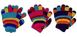 Peach Couture Children Toddler Warm Winter Gloves Value 3 Pack one size Mrc (Rainbow Assortment)