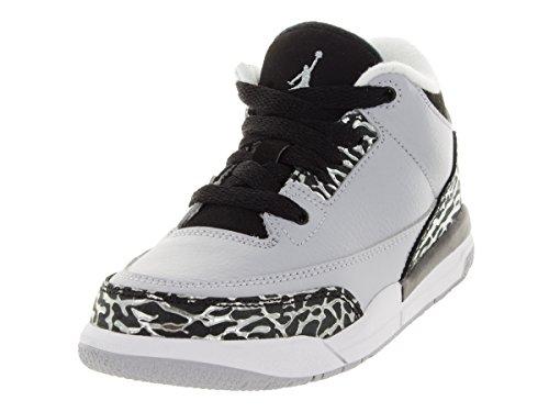 Nike Jordan Kids Air Jordan 3 Retro BP Wolf Grey/Metallic Silver/Blk Basketball Shoe 13 Kids US