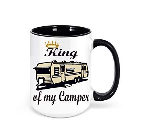 King of my Camper Travel Trailer Mug, Camping Coffee Mug, Travel Trailer Decor, Campground Decor, RV Decor