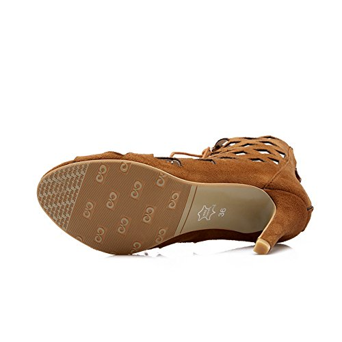 7741160fa1e6 ... YE Damen High Heels Sommerstiefeletten Offen Ankle Boots Cut Outs  Sandalen mit Schnürung 10cm Absatz Schuhe