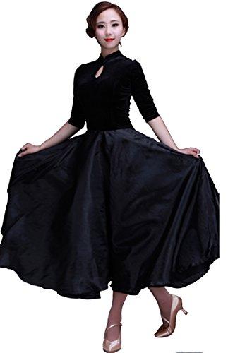 [5310 StarDance Ballroom Smooth Velvet Dance Costume Dress (US4_6(L), Black)] (Dancesport Standard Costume)
