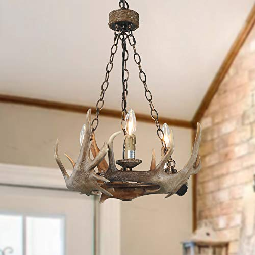 Deer Island Light - LOG BARN 3 Lights Farmhouse Faux Antlers Chandelier in Hand-Polished Resin and Rusty Metal Finish, 19.7