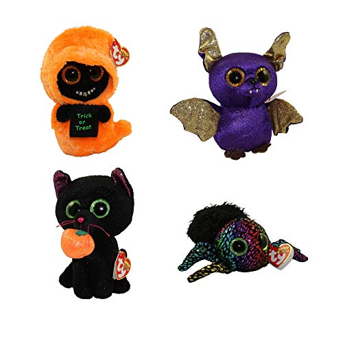 BEANIE BOOS TY Halloween 2018 Bundle 4 (6 inch) Potion The Cat, LEGGZ The Spider, Count The Bat Grinner The Ghoul]()