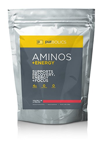 Purbolics Aminos + Energy   Supports Recovery, Energy & Focus   95mg of Caffeine, 0 Calories & 60 Servings (Youre 1 in A Melon)