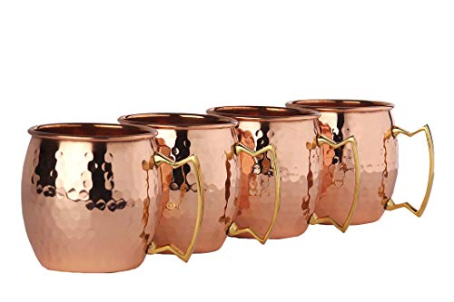 (Moscow Mule Copper Mugs - Set of 4-100% HANDCRAFTED Food Safe Pure Solid Copper Mugs - 16oz Gift Set with BONUS: 4 Cocktail Copper Straws, 1 Shot Glass and Recipe Booklet! Hammered Copper Mug)