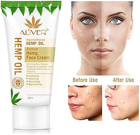 Onkessy Cáñamo Crema facial Hidratante Antienvejecimiento Aceite de cáñamo Reparación Hidratante & amp; amp; Crema de Noche Nutritiva 50 ML