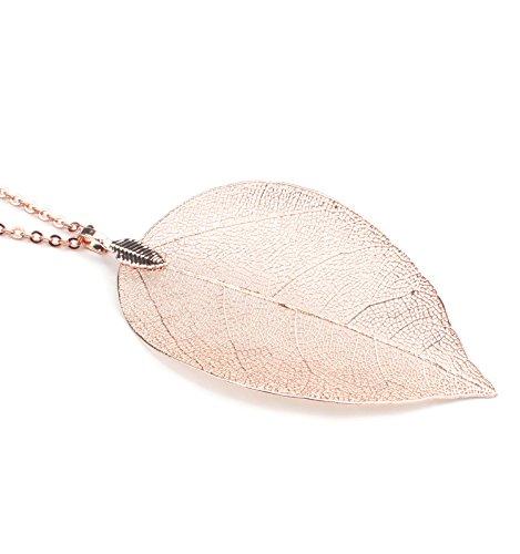 BOUTIQUELOVIN Filigree Long Leaf Pendant and Dangle Earring Jewelry Set for Women Girls-14K Gold,Rose Gold,Silver,Copper (Rose Gold) by BOUTIQUELOVIN (Image #2)