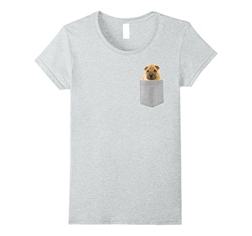 Womens Dog in Your Pocket Chinese Shar-Pei t shirt shirt XL Heather Grey