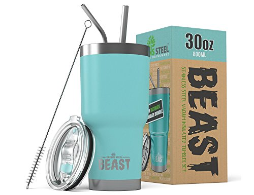 Greens Steel BEAST 30 oz Teal Tumbler Stainless Steel Insulated Coffee Cup with Lid, 2 Straws, Brush & Gift Box by (30oz, Aquamarine Blue)