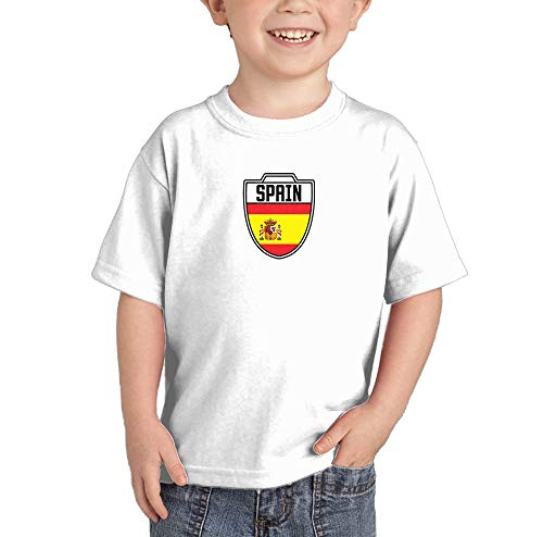 Spain - Country Soccer Crest Infant/Toddler Cotton Jersey T-Shirt (White, 2T)