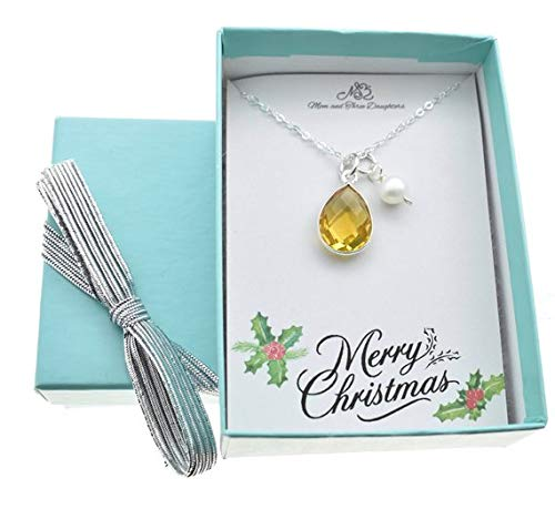 .925 Sterling Silver Pendant /& Necklace Gift Boxed Birthstone November Citrine