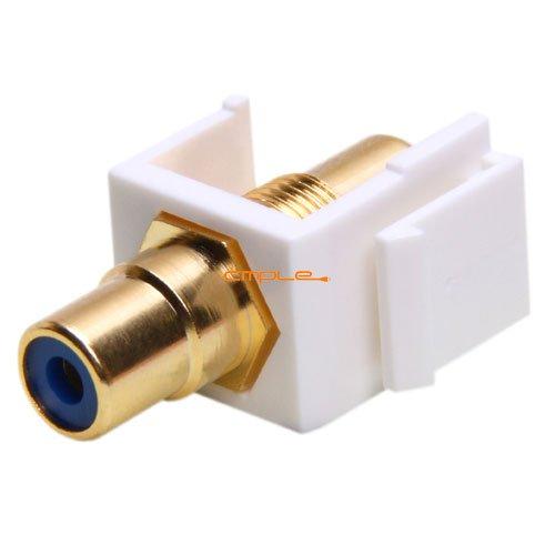 Cmple - Keystone Jack - Modular RCA w/Blue Center (White) ()
