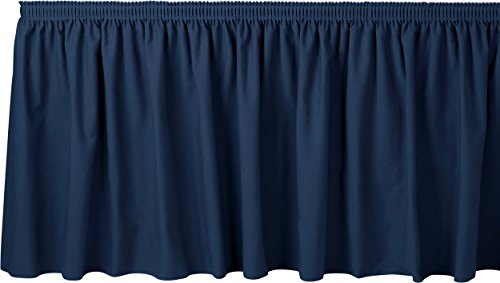 Bright Settings 21 Foot Shirred Table Skirt w/ 3/4 Inch Hook-and-Loop Fastener Clips, Spun Polyester, 29 Inch High, Royal ()
