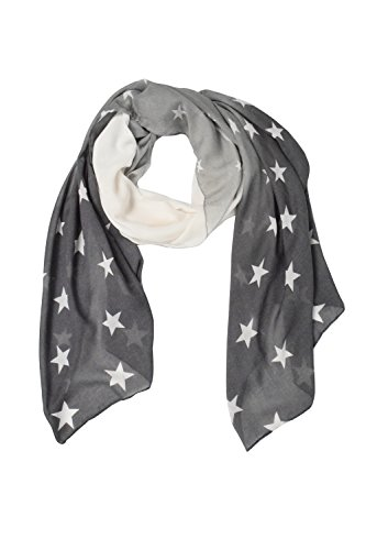 Peach Couture Exclusive Womens Vibrant Patriotic Fading Star Print Light Scarf (Grey)