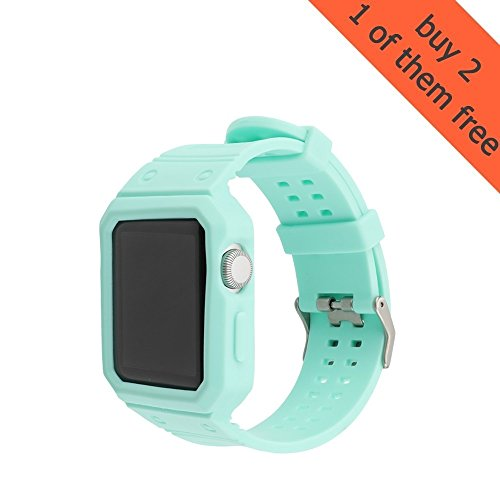 top4cus 38mm Soft Silicone Replacement Sport Strap iWatch Band for Apple Watch 38mm Edition & Sport & Apple watch Series 3 Series 2 Series 1- Mint Green,38mm (Piece Series One)