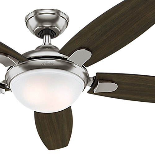 hunter fan contemporary ceiling brushed nickel energy efficient led light remote control blade certified refurbished ge bulbs 60 watt lights with