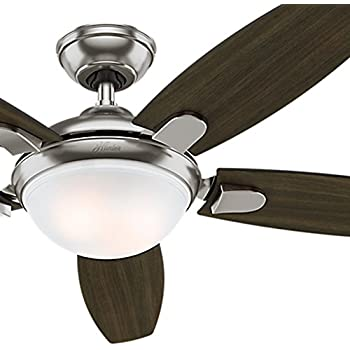 Hunter fan 54 contemporary ceiling fan with led light kit and hunter fan 54 contemporary ceiling fan in brushed nickel with energy efficient led light aloadofball Images