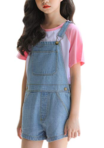 Sitmptol Girls Overall Overalls for Girls Cute Boyfriend Jeans Denim Romper Long Shortalls 170 Washed Blue ()