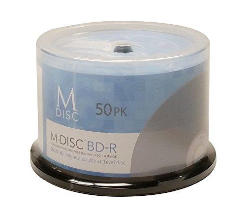 M-DISC 25GB Blu-ray White Inkjet Permanent Data Archival / Backup Blank BD-R Media (50 Disc) by Vinpower Digital