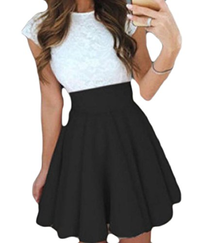 Coolred Color Hem Lace Short Women O Dress Black Line Pure Rockabilly Splicing Neck Sexy Sleeve gfxFrqg