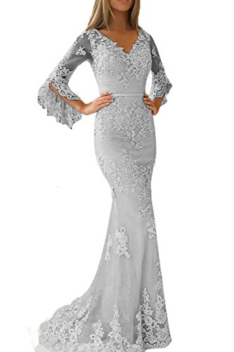 Promworld Lace Applique Double V Neck Mermaid Prom Dress Flare Sleeve Evening Gowns for Women Formal Grey US12